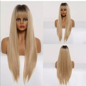 Ombré blonde with bangs straight wig